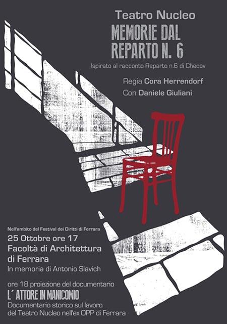 """""""Memorie dal Reparto N°6"""". Il Teatro Nucleo ospite al DA"""