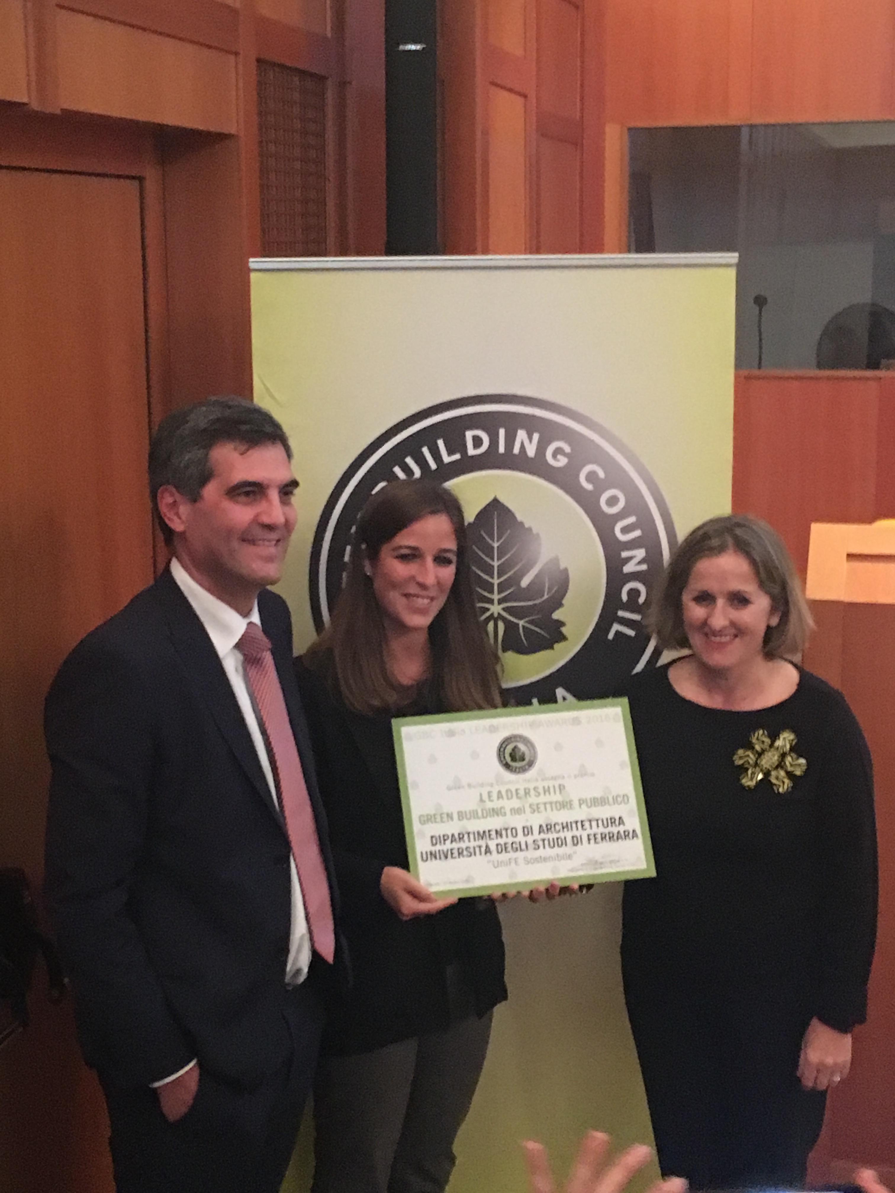 Centro Ricerche Architettura>Energia vince il premio Leadership in Green Building nel Settore Pubblico